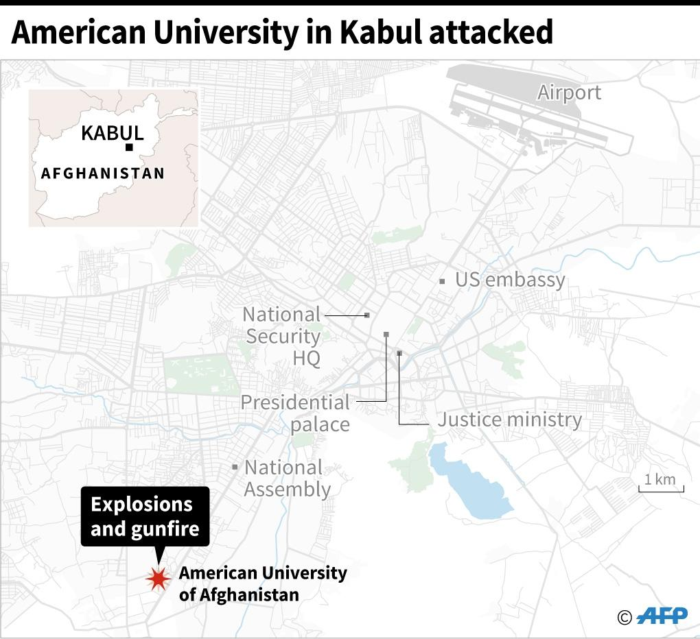 Map of Kabul locating the American University (AFP Photo/-, -)