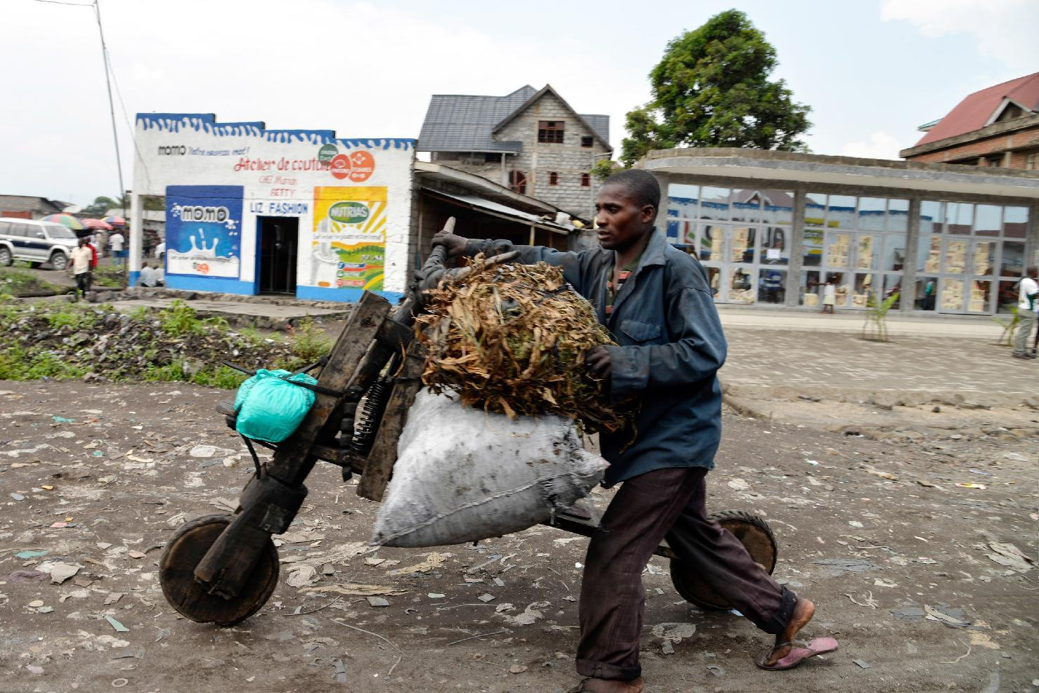 A man transports goods on a tshukudu, a wooden push-bike, in Goma on June 18, 2014 (AFP Photo/Junior D. Kannah)