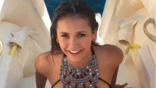 Watch nina dobrev go down a water slide backwards during for Youtube h2o