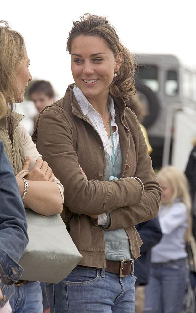 Kate, dressed in a casual sweater with a brown jacket, wore her hair up for the Gatcombe Horse Trials.