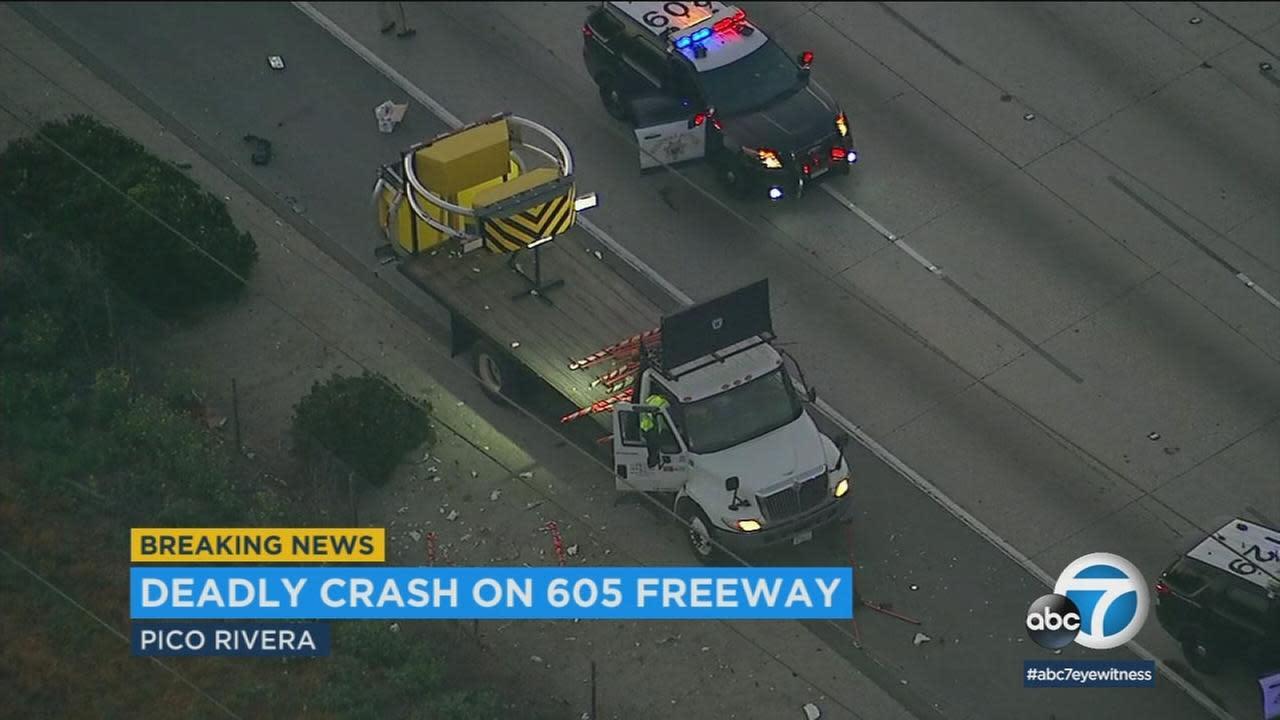 Man struck, killed by big rig on 605 Freeway in Pico Rivera