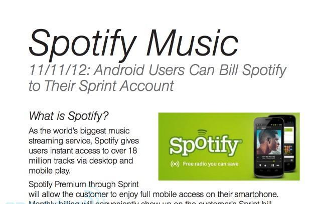Sprint adding Spotify Premium to carrier billing for Android customers starting November 11th