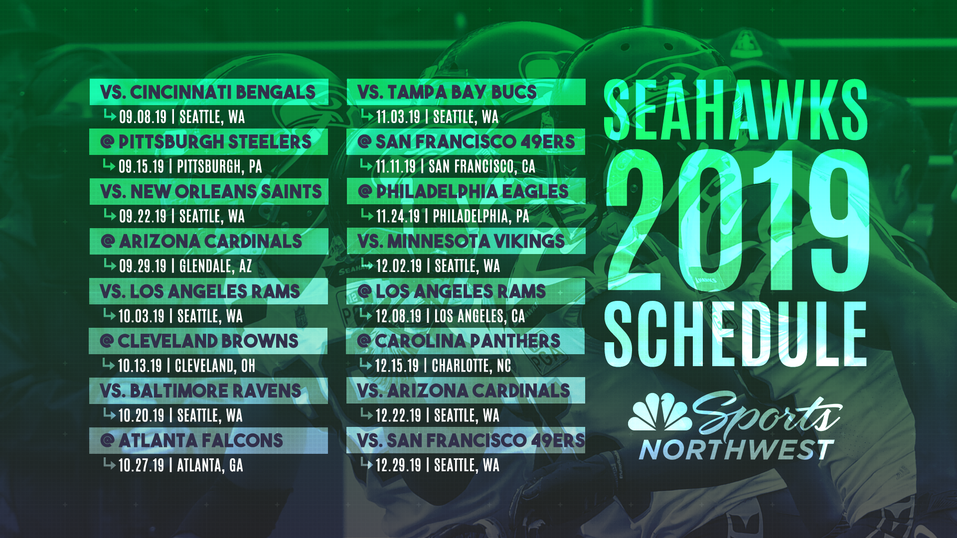 Carolina Panthers Schedule 2020.The 2019 Seattle Seahawks Regular Season Schedule Is Here