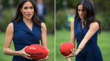 Meghan Markle shows off her AFL skills during royal tour of Melbourne