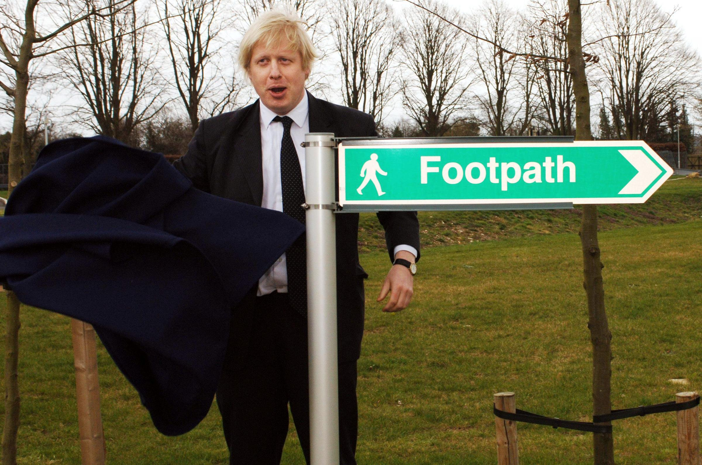 Boris Johnson, MP for Henley and Conservative spokesman on Higher Education, opens a footpath at the Environments Agency in Wallingford, Oxon, Friday April 7 2006. He later started a race between a car, a cyclist, runners and walkers to promote green travel. Watch for PA story.