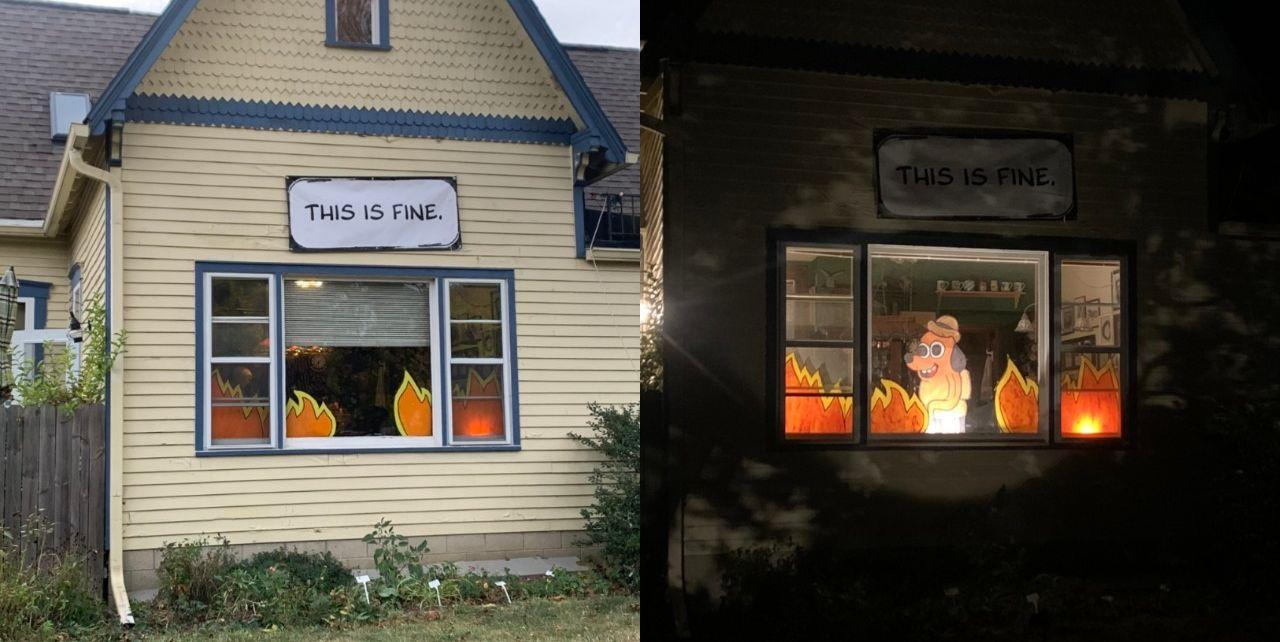 This House Recreated The Dog Sitting In Fire Meme IRL And ...