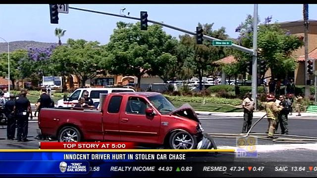 Innocent driver hurt in stolen car chase