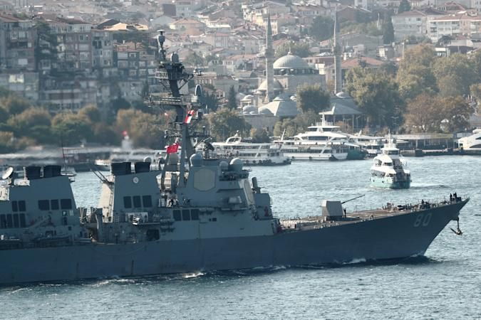 U.S. Navy Arleigh-Burke class destroyer USS Roosevelt (DDG 80) sets sail in the Bosphorus, returning from the Black Sea, in Istanbul, Turkey October 2, 2020. REUTERS/Murad Sezer