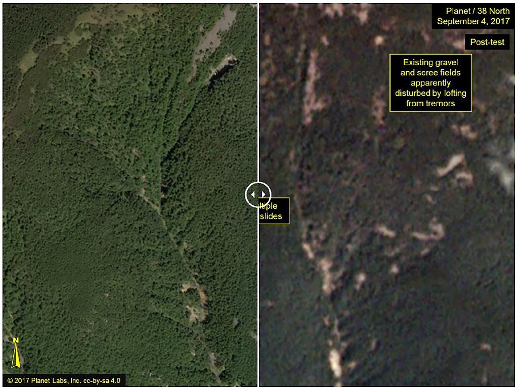 The Punggye-ri test site, before (left) and after the September 3, 2017, test. The image on the right shows landslides from the blast