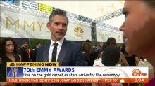 Eric Bana hits the Emmys gold carpet