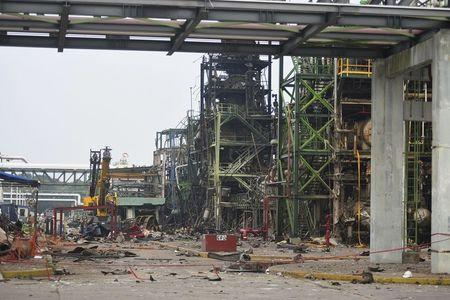 Vew of an area damaged by an explosion at Mexican national oil company Pemex's Pajaritos petrochemical complex in Coatzacoalcos