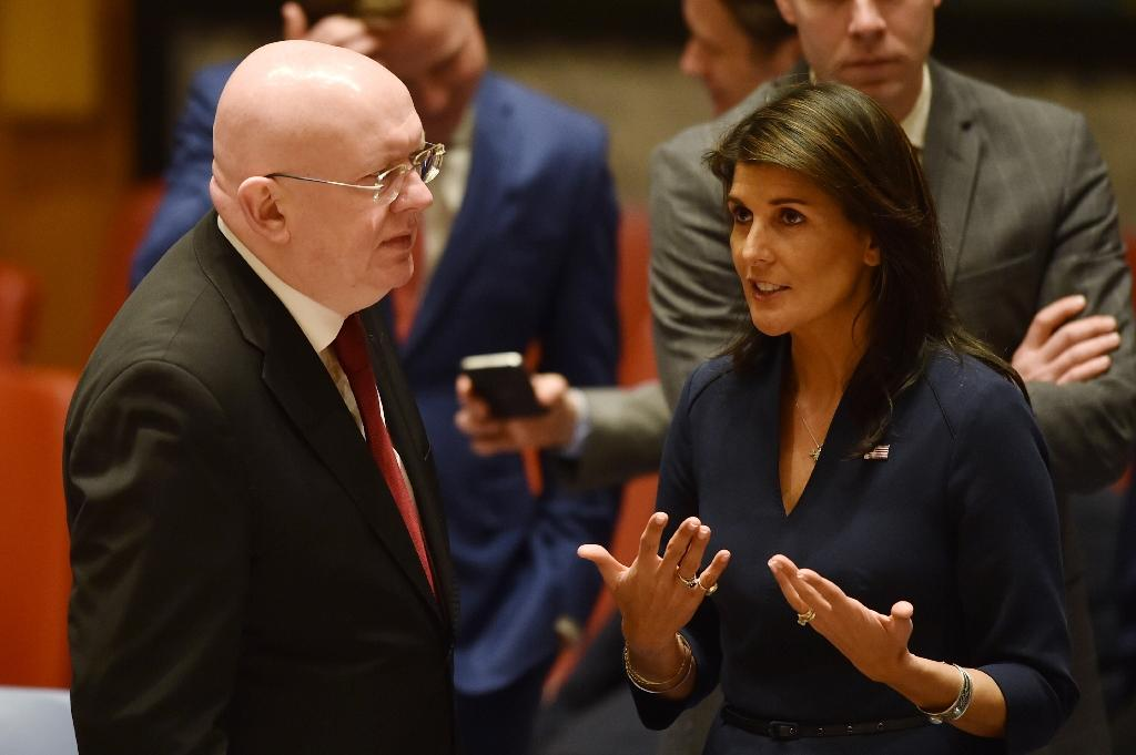 US Ambassador to the United Nations, Nikki Haley, pictured in April 2018 talking with her Russian counterpart Vassily Nebenzia during a UN Security Council meeting
