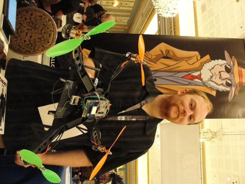 David Jordan displays an Aerial Assault drone during a Def Con hacker gathering in Las Vegas, Nevada, on August 9, 2015 (AFP Photo/Glenn Chapman)