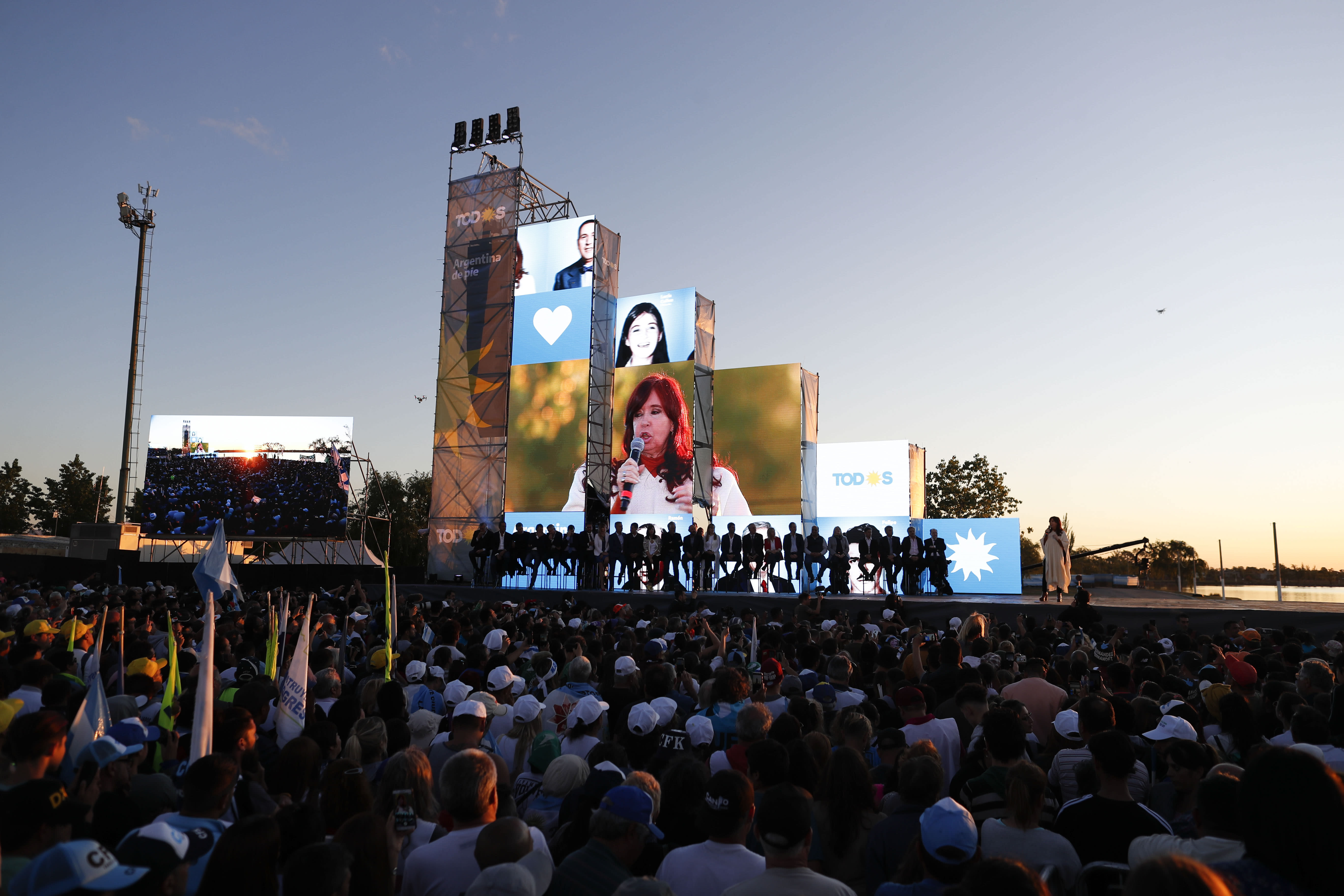 In this Oct. 17, 2019 photo, Cristina Fernandez de Kirchner, Argentina's former president, speaks to supporters during a campaign rally in Santa Rosa, Argentina. Fernandez de Kirchner, who embodies Argentina's enduring cycle of hope and despair, appears close to a return to power, this time as a candidate for vice president. (AP Photo/Natacha Pisarenko)
