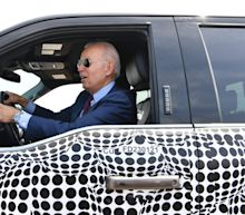 'I'm only teasing': Biden jokes about running over reporters who ask about Israel as he test drives electric truck