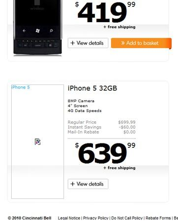iPhone 5 / 4S placeholders pop up at Cincinnati Bell, questionable specs in tow