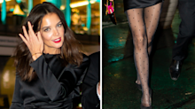 Katie Holmes proves polka dot tights are the perfect LBD partner
