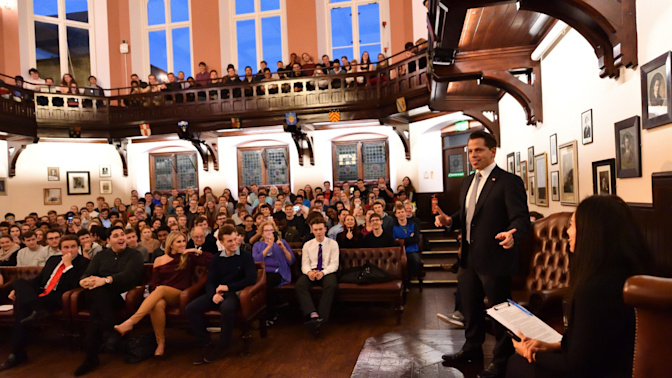Donald Trump's former staffer Anthony Scaramucci shocks Cambridge Union by swearing at student