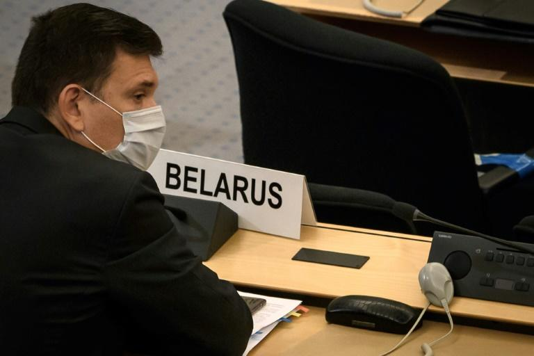 Tikhanovskaya's message was repeatedly interrupted by objections from Belarus Ambassador Yuri Ambrazevich