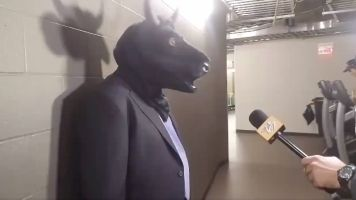 No bull: Laviolette wears mask during scrum