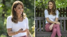 The Duchess of Cambridge wears M&S trousers to meet parents in Battersea Park