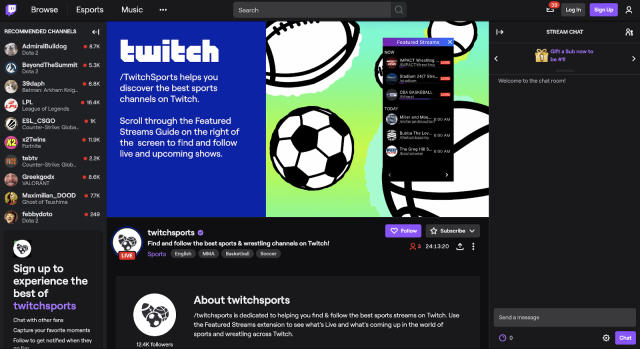 Twitch gives traditional sporting streams their own category