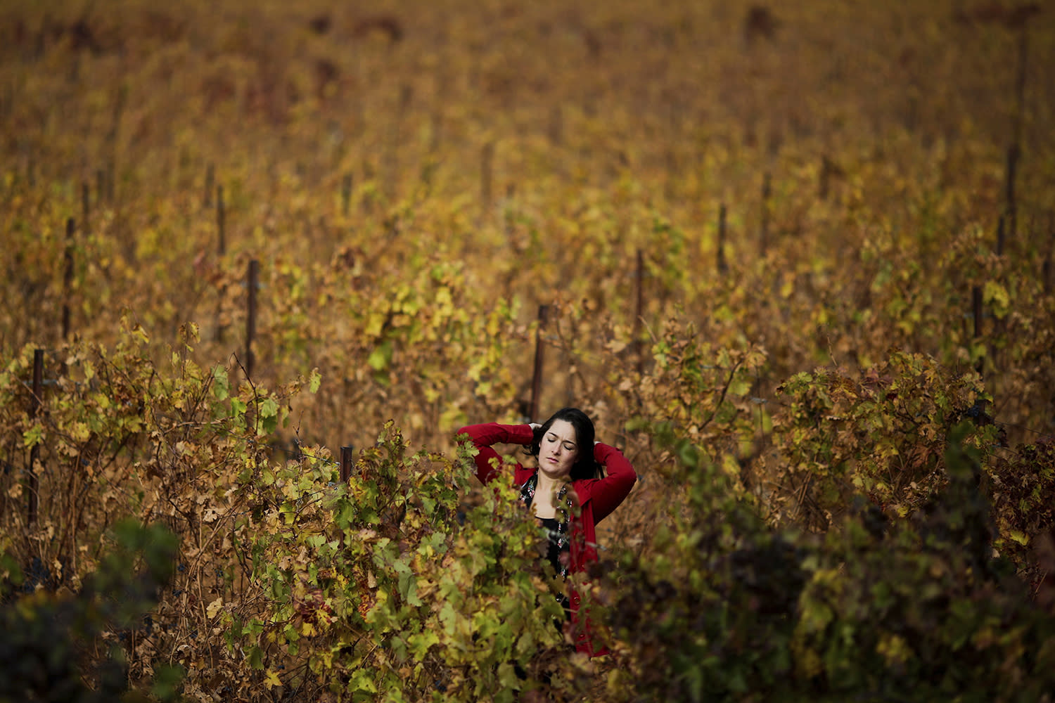 <p>A tourist reacts as she walks through the vineyard of the Chateau Kefraya winery in Bekaa valley, east Lebanon, Nov. 20, 2016. (Photo: Hassan Ammar/AP) </p>