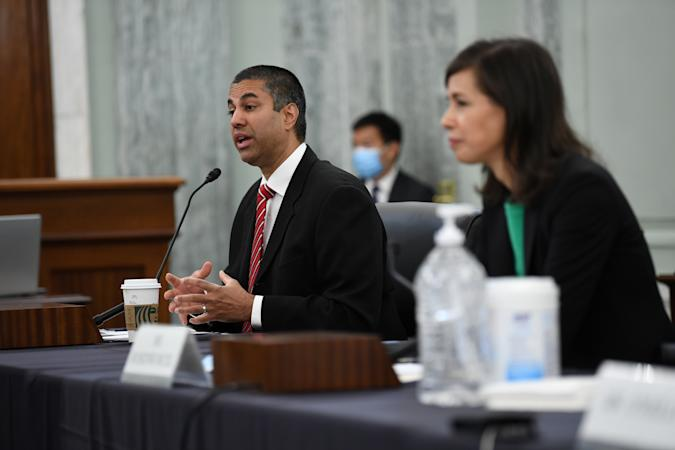 Ajit Pai, Chairman, Federal Communications Commission testifies during an oversight hearing held by the U.S. Senate Commerce, Science, and Transportation Committee to examine the Federal Communications Commission (FCC), in Washington, U.S. June 24, 2020.    Jonathan Newton/Pool via REUTERS