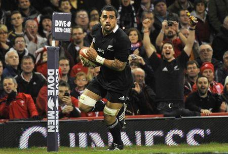 Messam of New Zealand scores a try during their international rugby union match against Wales in Cardiff