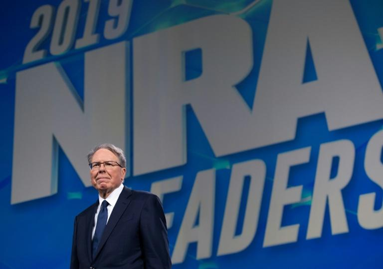 Wayne LaPierre arrives prior to a speech by US President Donald Trump at the NRA Annual Meeting in Indianapolis, Indiana in April 2019