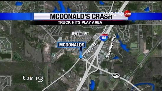 5 injured when SUV crashes into Byram McDonald's
