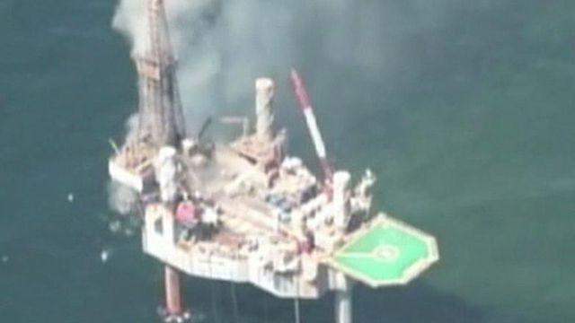 Natural gas well off Louisiana coast catches fire