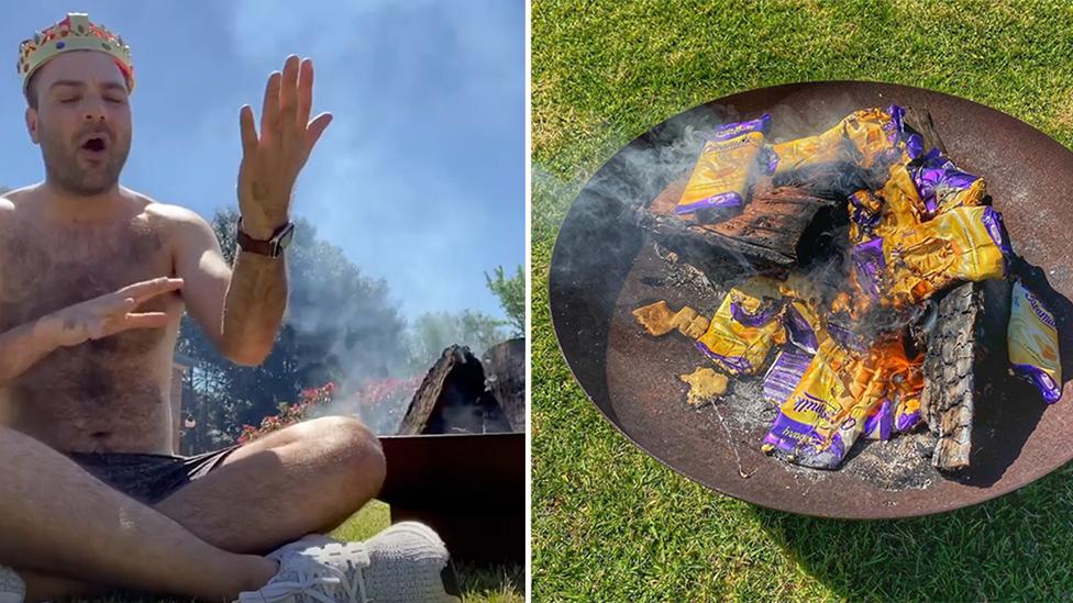Influencer causes fury after burning $16,000 of Caramilk chocolate