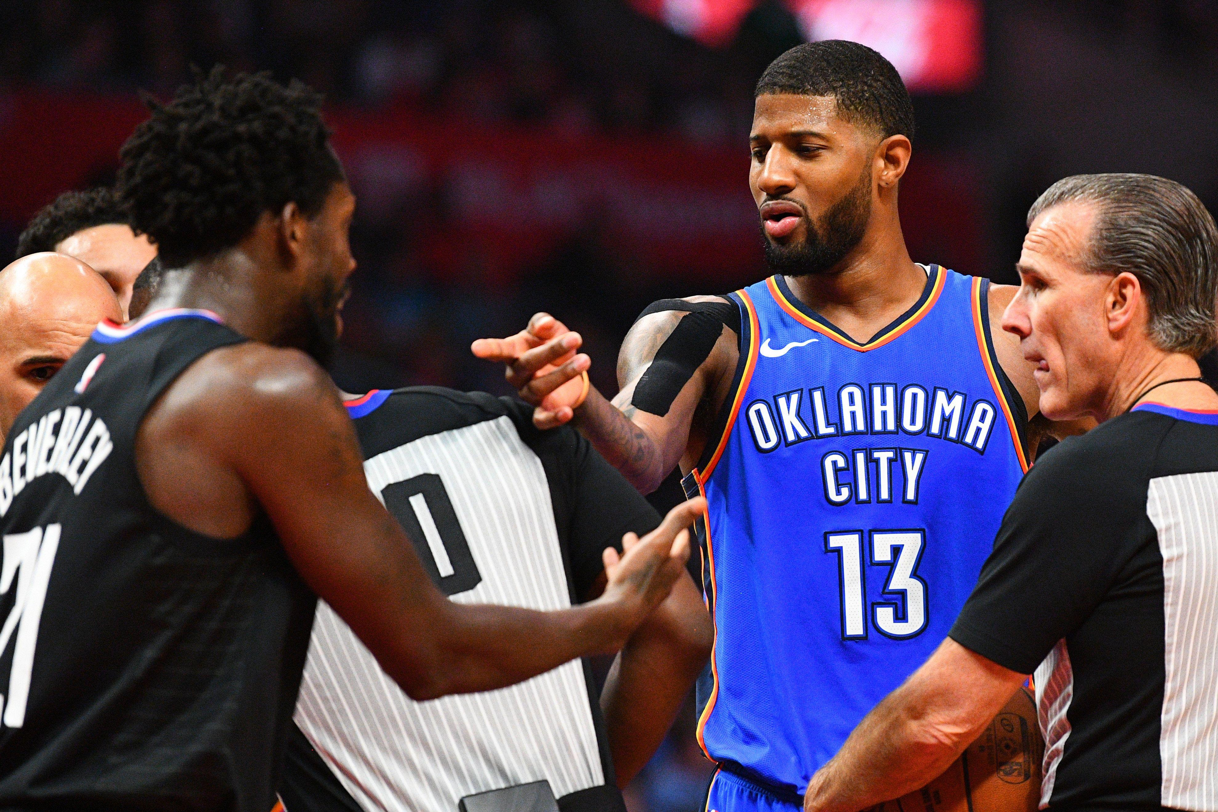 93861e7c905a Paul George fined  25k for blaming  bad officiating  on three Thunder  starters fouling out