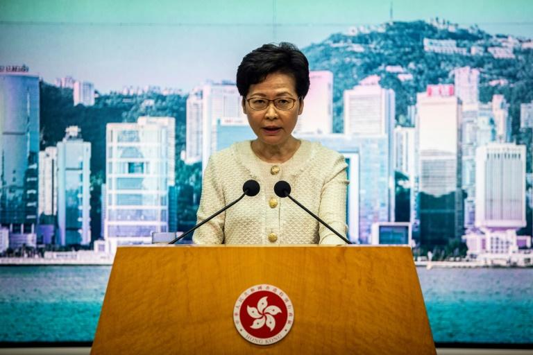 Hong Kong Chief Executive Carrie Lam speaks to the media about the new national security law introduced in the city (AFP Photo/ISAAC LAWRENCE)