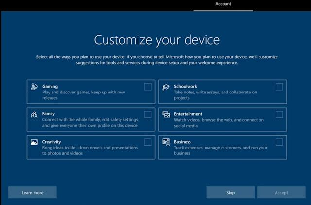 Microsoft tests a Windows 10 setup screen that asks how you'll use your PC