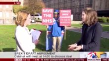 Anti-Brexit protester steals the show on live television