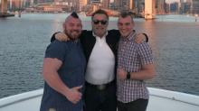 Arnold Schwarzenegger congratulates strongman Rob Kearney as he wins title and marries his boyfriend