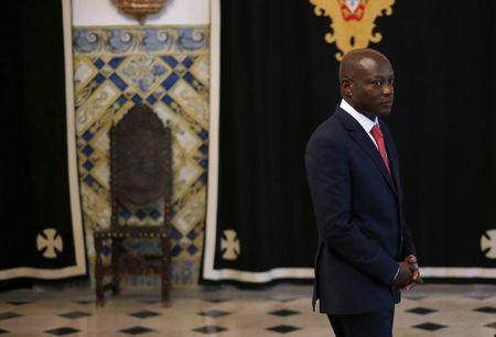 Guinea-Bissau's President Jose Mario Vaz arrives to speak with journalists after a meeting with his Portuguese counterpart Anibal Cavaco Silva at Belem presidential palace in Lisbon