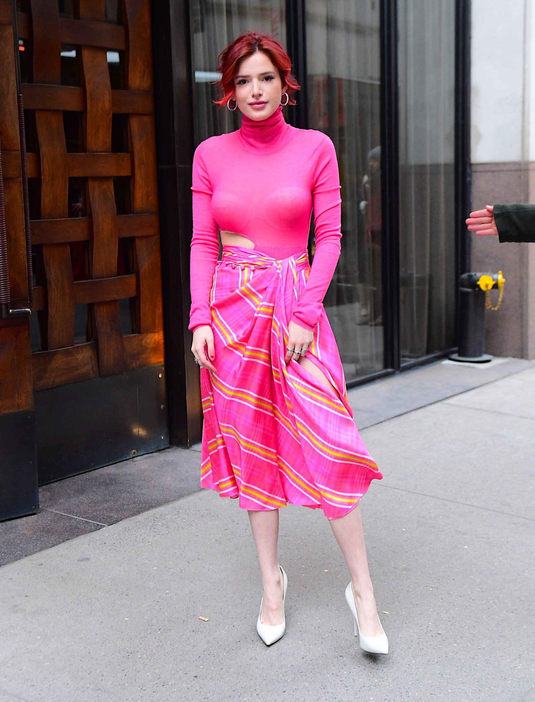 Bella Thorne Wears See-Through Pink Turtleneck