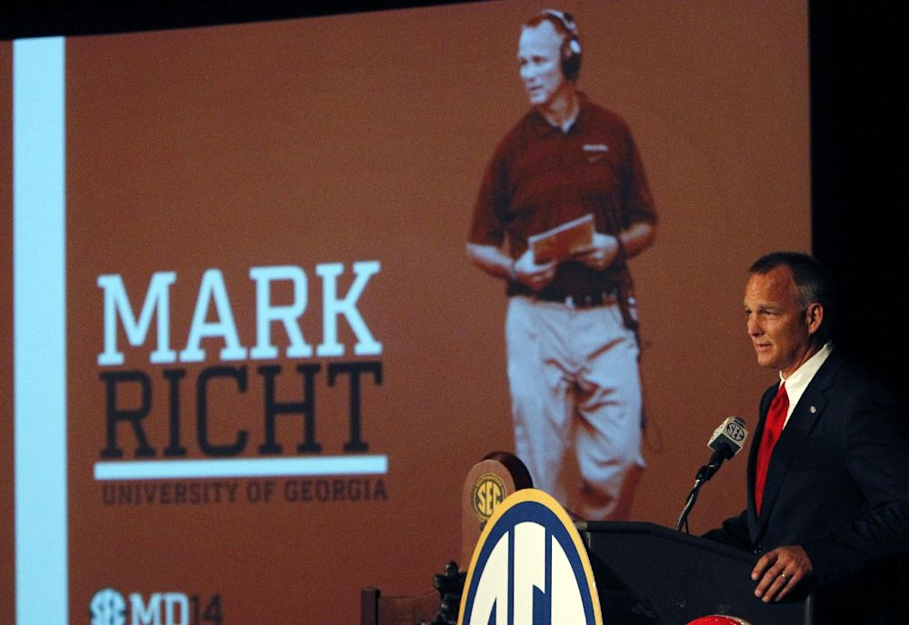 Georgia coach Mark Richt speaks to the media at the Southeastern Conference NCAA college football media days, Thursday, July 17, 2014, in Hoover, Ala