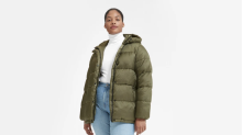 This puffer coat is made from water bottles — and it's actually cute