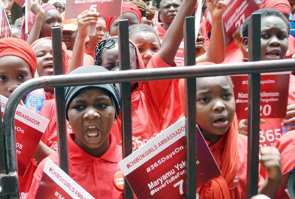 Children designated ambassadors for the Chibok girls protest on April 14, 2015 in the Nigerian capital Abuja, demanding the release of more than 200 schoolgirls abducted by Boko Haram militants (AFP Photo/-)