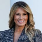 Melania Trump Layers a Tweed Coat Over a Leather Skirt to Pardon National Thanksgiving Turkey