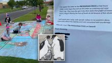'Pretentious p**ck': Angry neighbour's bizarre rant over footpath chalk art