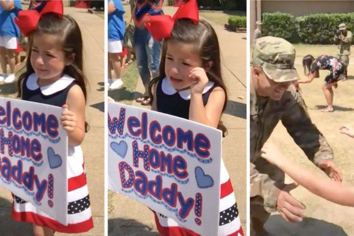 Little girl gets emotional at her military dad's homecoming: 'Omg I'm crying harder than she is'