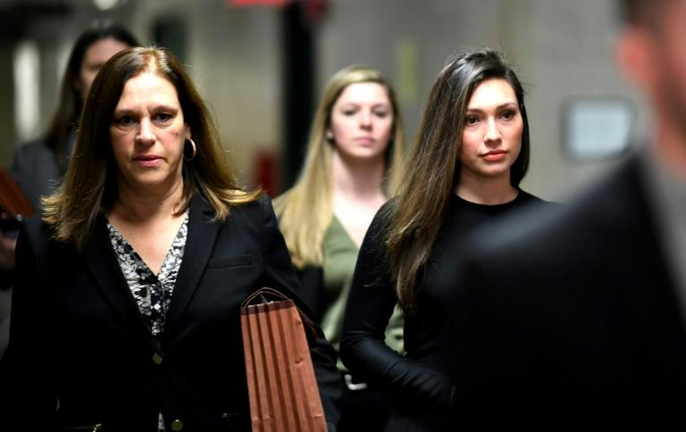 Former Actress Jessica Mann (R) delivered a powerful impact statement at Weinstein's sentencing (AFP Photo/Johannes EISELE)