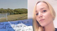 Woman finds 'creepy' note on windscreen after bushwalk