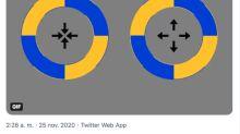Una ilusión óptica con círculos y flechas para engañar al ojo humano