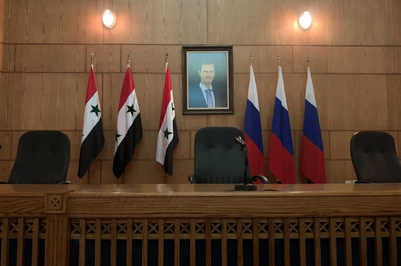 Press conference between Russian Deputy Prime Minister Yuri Borisov, Foreign Minister Sergei Lavrov, and Syria's Foreign Minister Walid Muallem